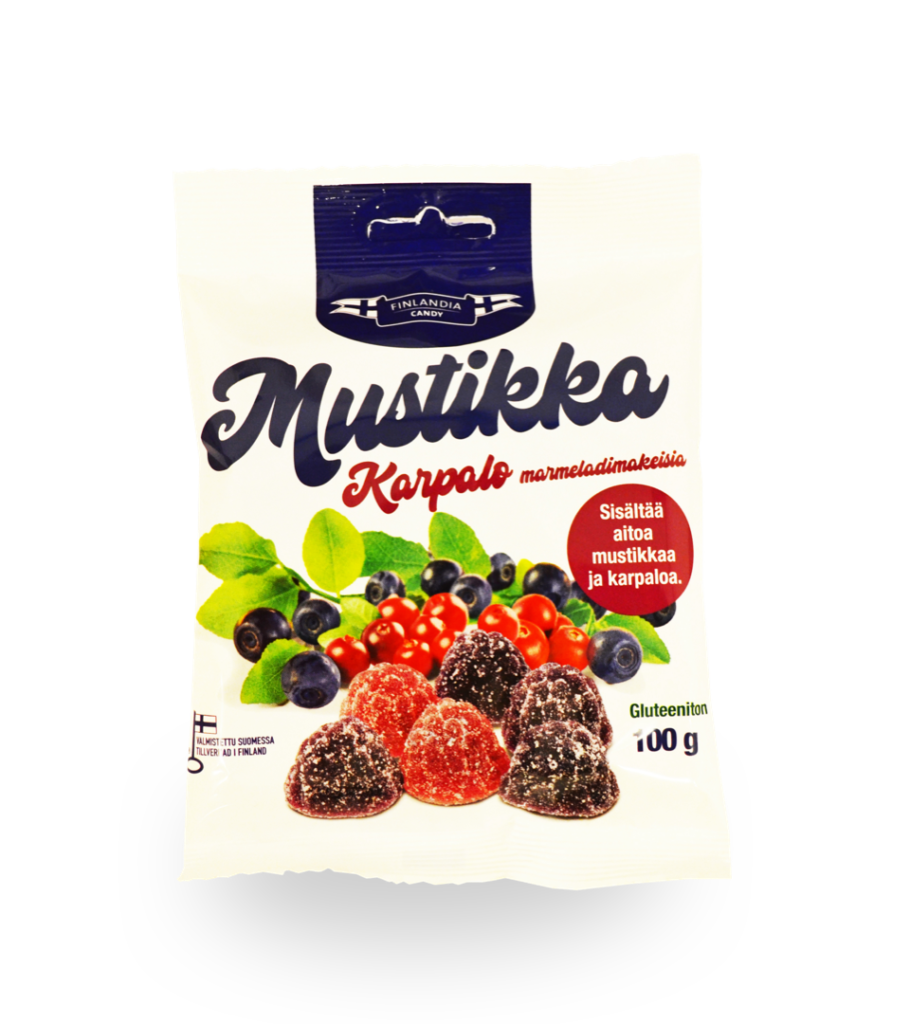 finlandia candy mustikka karpalo marmeladi, mustikkakarkit, karpalokarkit, suomalaiset karkit